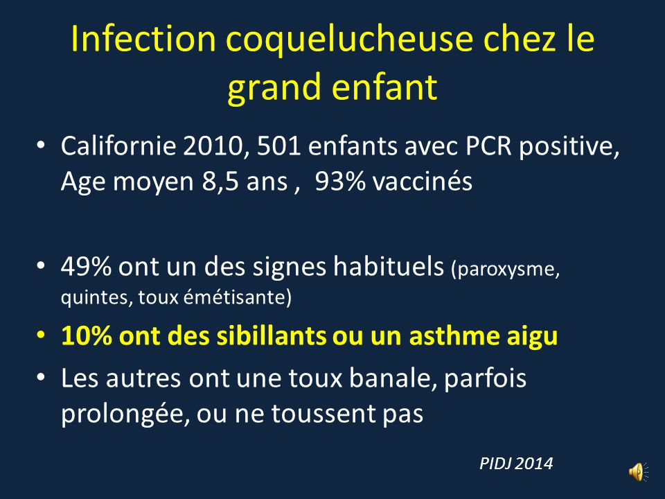 Infection coquelucheuse chez le grand enfant