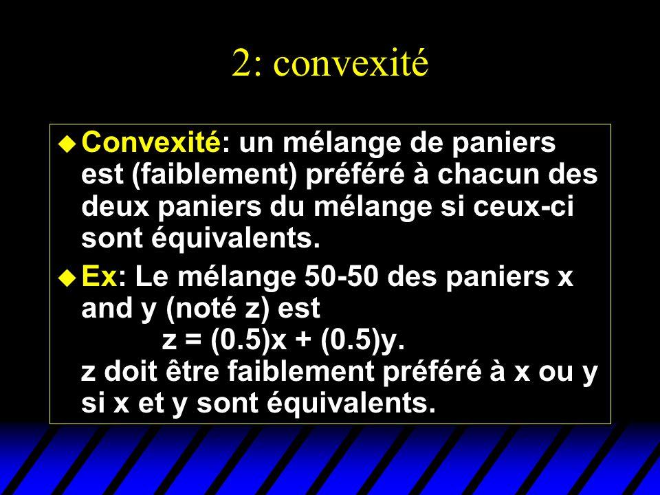 2: convexité Convexité: un mélange de paniers est (faiblement) préféré à chacun des deux paniers du mélange si ceux-ci sont équivalents.