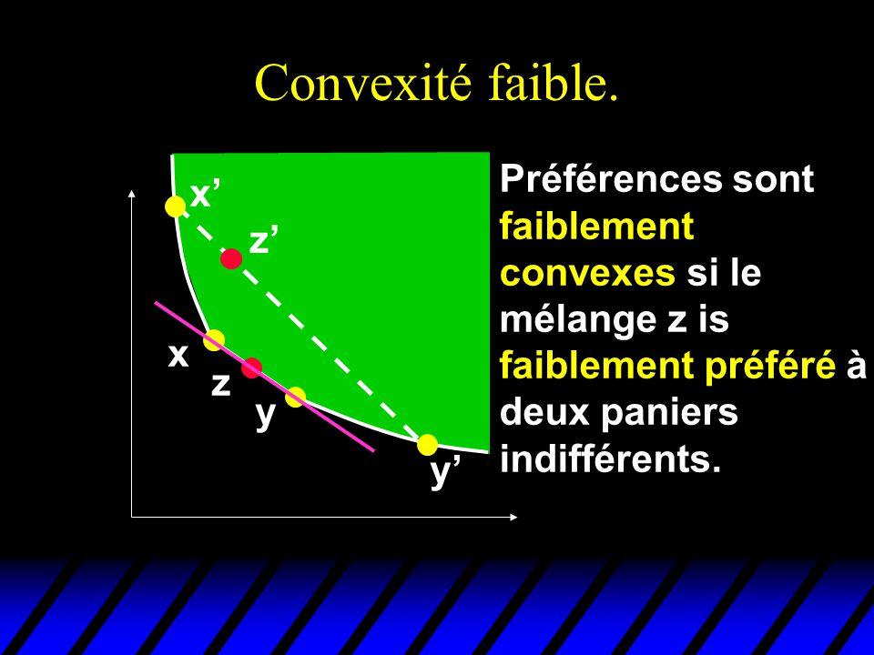 Convexité faible. Préférences sont faiblement convexes si le mélange z is faiblement préféré à deux paniers indifférents.
