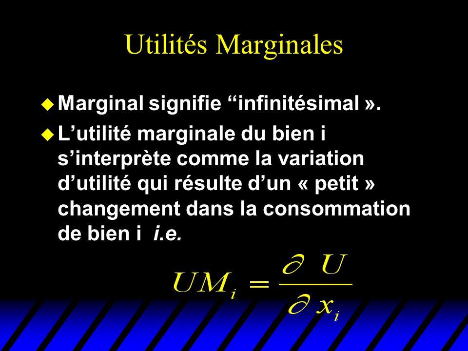 Utilités Marginales Marginal signifie infinitésimal ».