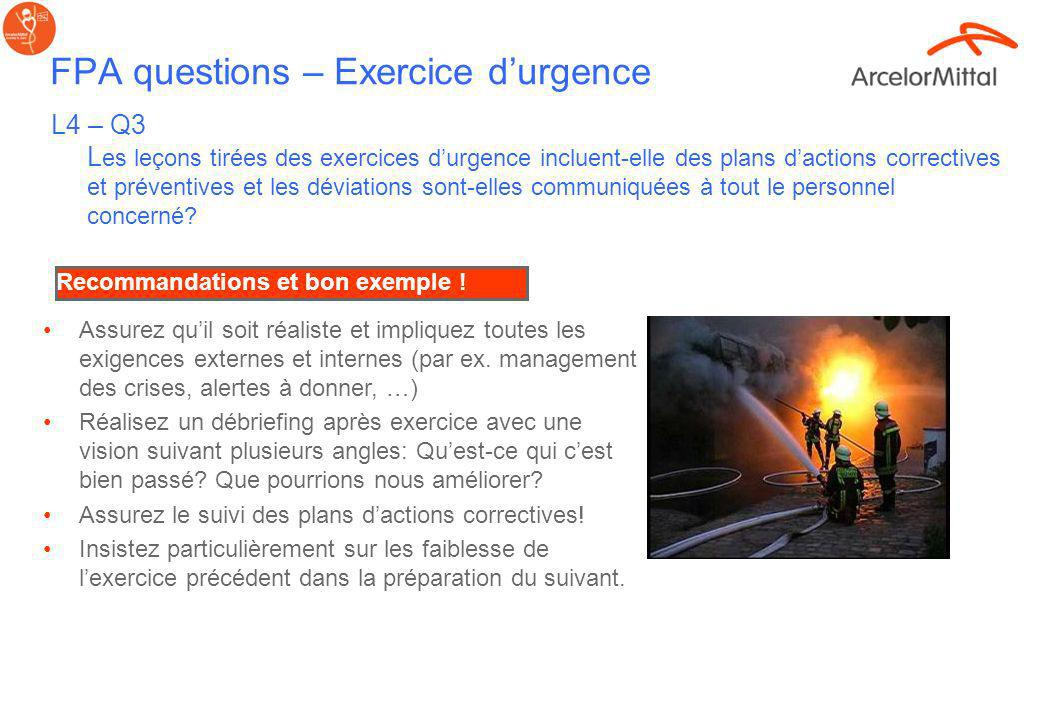 FPA questions – Exercice d'urgence