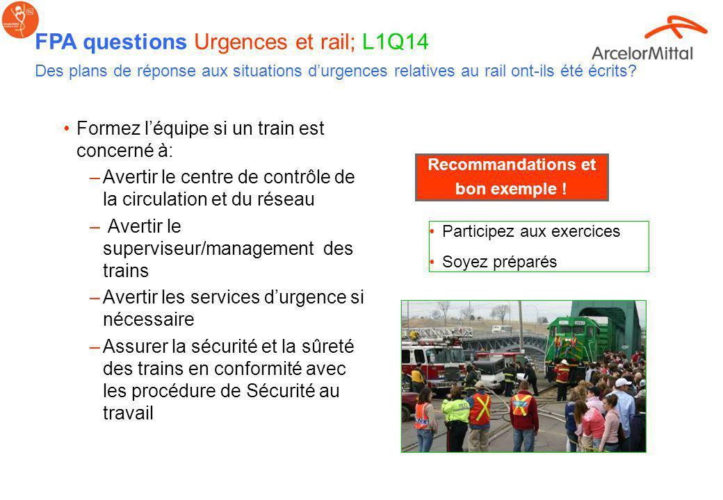 FPA questions Urgences et rail; L1Q14 Des plans de réponse aux situations d'urgences relatives au rail ont-ils été écrits
