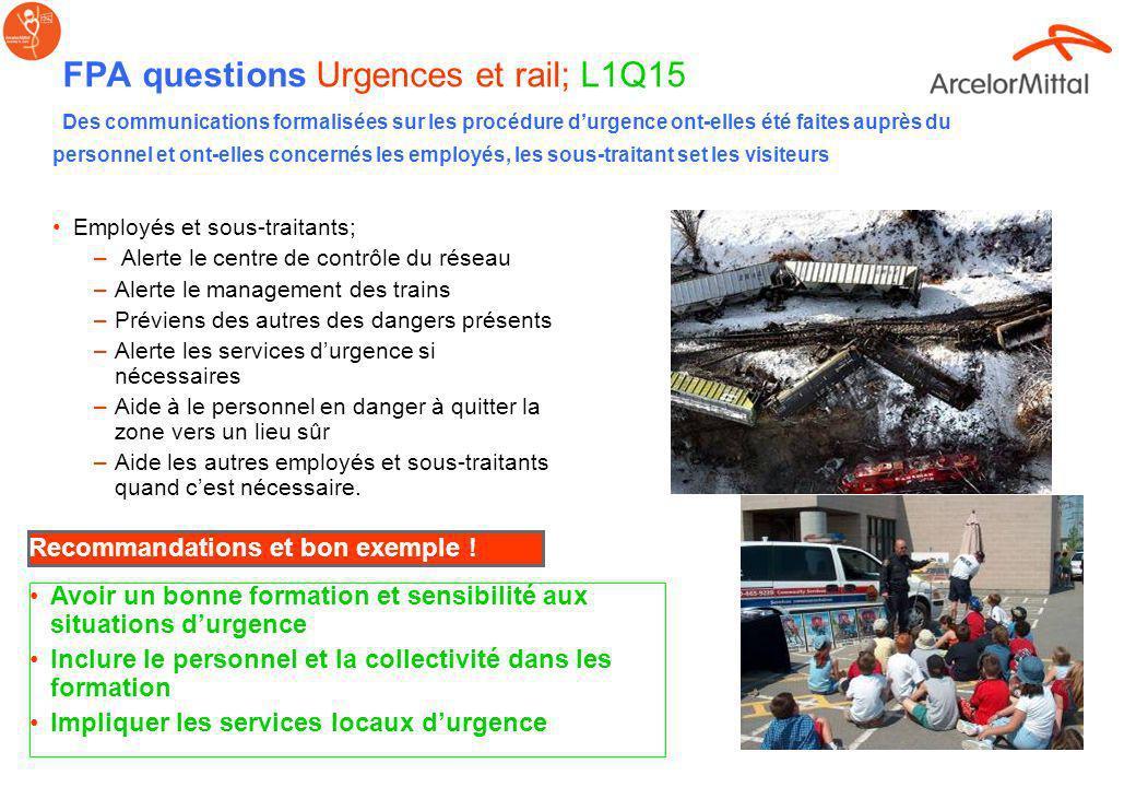 FPA questions Urgences et rail; L1Q15 Des communications formalisées sur les procédure d'urgence ont-elles été faites auprès du personnel et ont-elles concernés les employés, les sous-traitant set les visiteurs