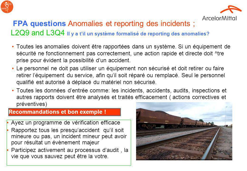 FPA questions Anomalies et reporting des incidents ; L2Q9 and L3Q4 Il y a t'il un système formalisé de reporting des anomalies