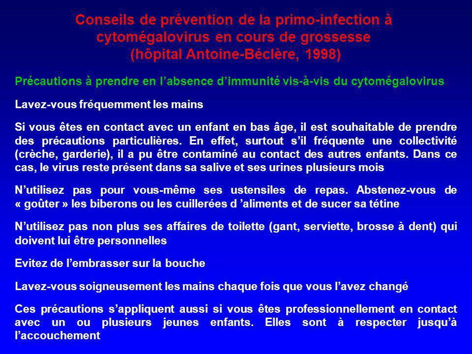 Conseils de prévention de la primo-infection à