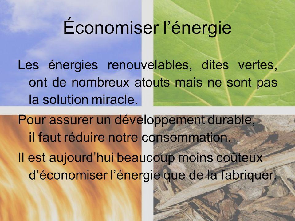 Économiser l'énergieLes énergies renouvelables, dites vertes, ont de nombreux atouts mais ne sont pas la solution miracle.