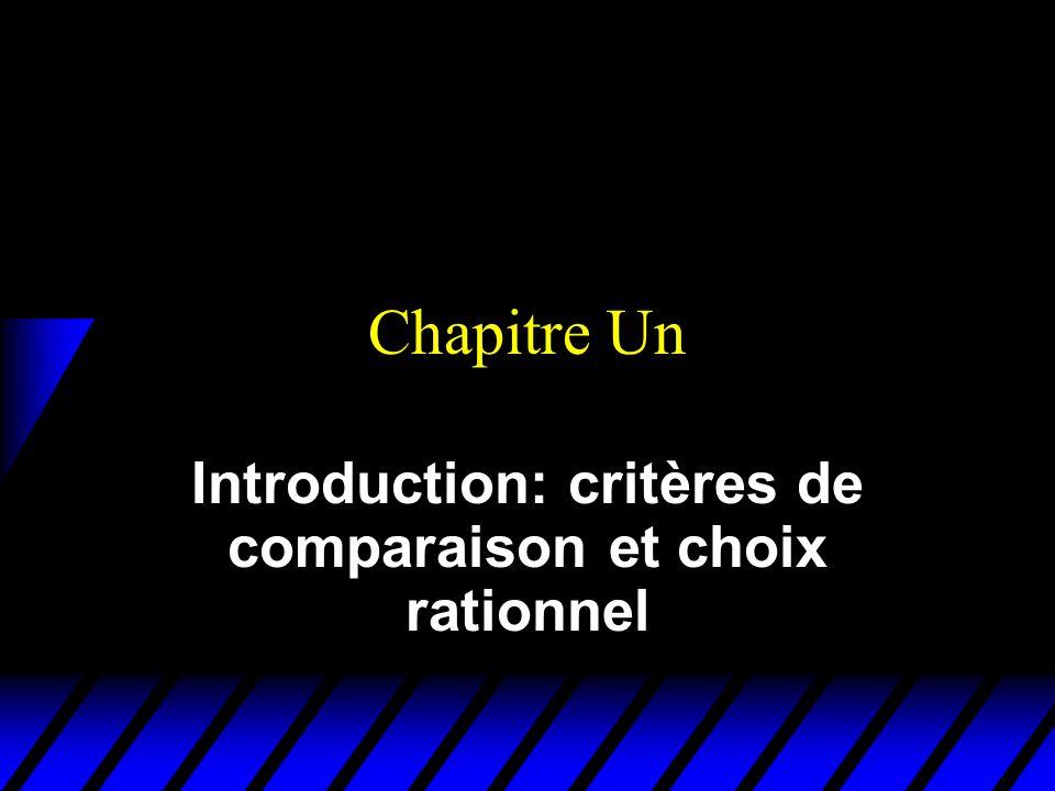 Introduction: critères de comparaison et choix rationnel