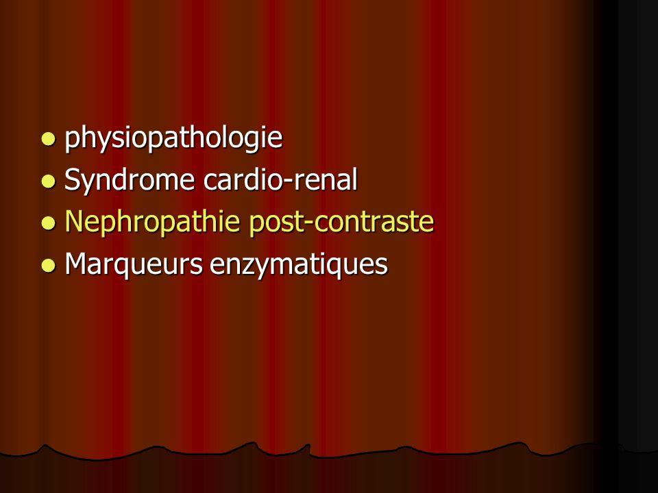 physiopathologie Syndrome cardio-renal Nephropathie post-contraste Marqueurs enzymatiques