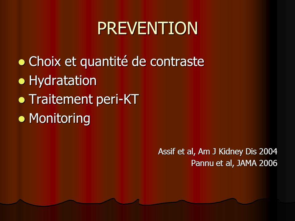 PREVENTION Choix et quantité de contraste Hydratation