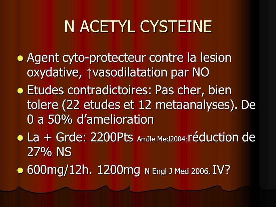 N ACETYL CYSTEINE Agent cyto-protecteur contre la lesion oxydative, ↑vasodilatation par NO.