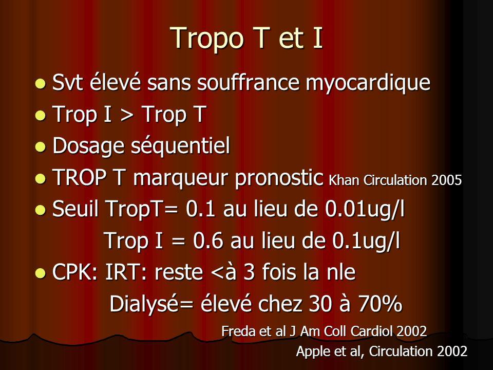 Tropo T et I Svt élevé sans souffrance myocardique Trop I > Trop T