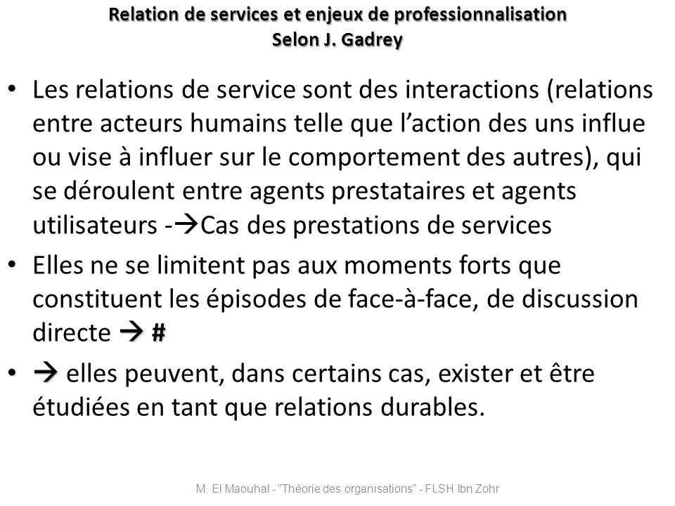 Relation de services et enjeux de professionnalisation Selon J. Gadrey