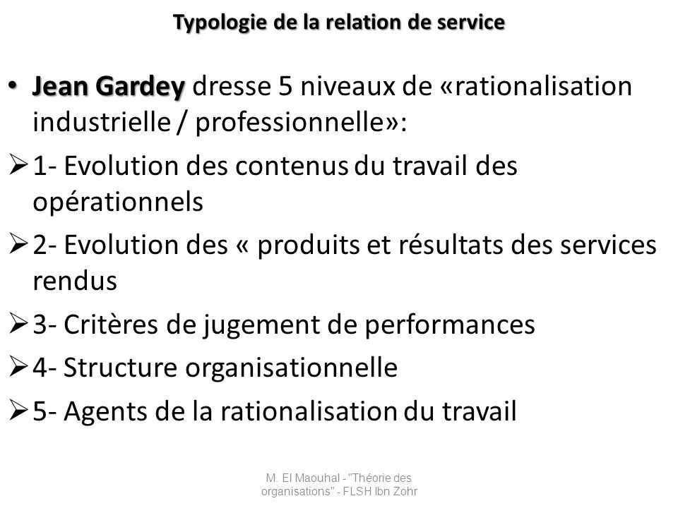 Typologie de la relation de service
