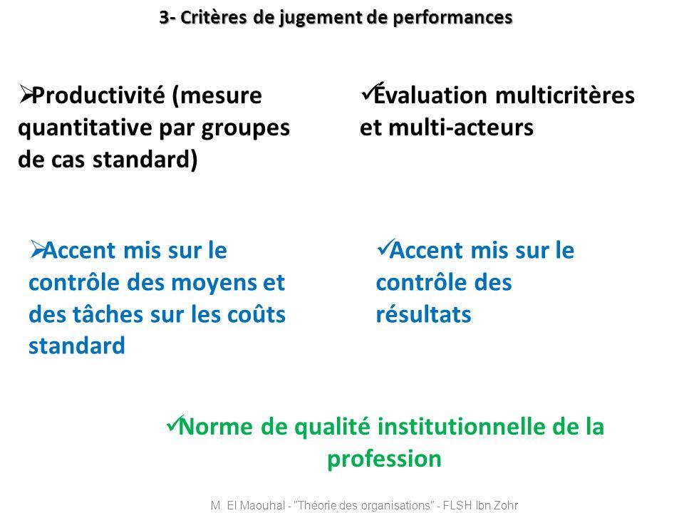 3- Critères de jugement de performances