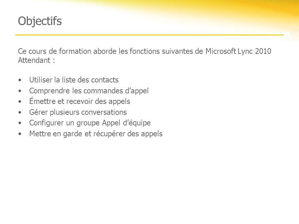 Objectifs Ce cours de formation aborde les fonctions suivantes de Microsoft Lync 2010 Attendant : Utiliser la liste des contacts.