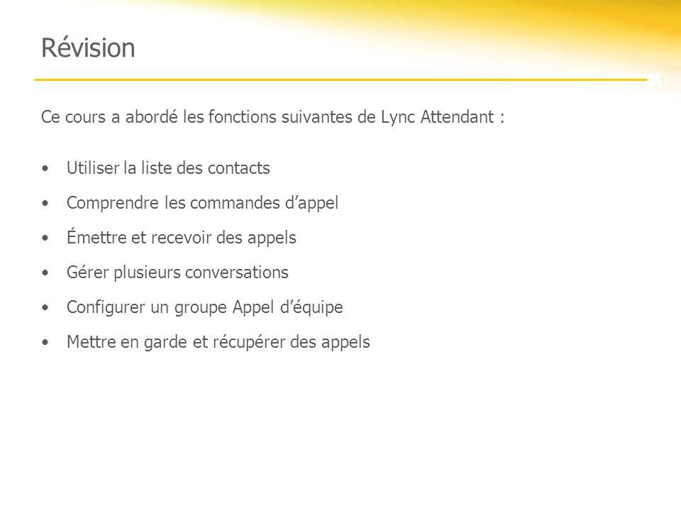 Révision Ce cours a abordé les fonctions suivantes de Lync Attendant :