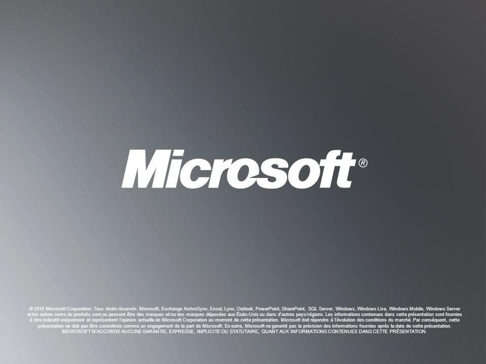 © 2010 Microsoft Corporation. Tous droits réservés