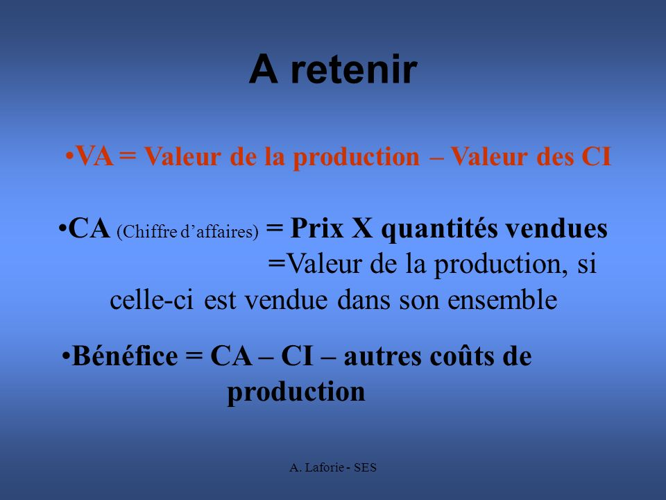 A retenir VA = Valeur de la production – Valeur des CI