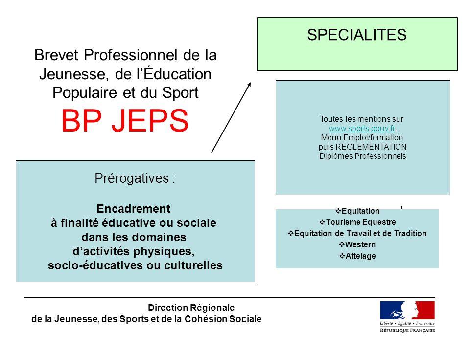 SPECIALITES Brevet Professionnel de la Jeunesse, de l'Éducation Populaire et du Sport BP JEPS. Toutes les mentions sur.