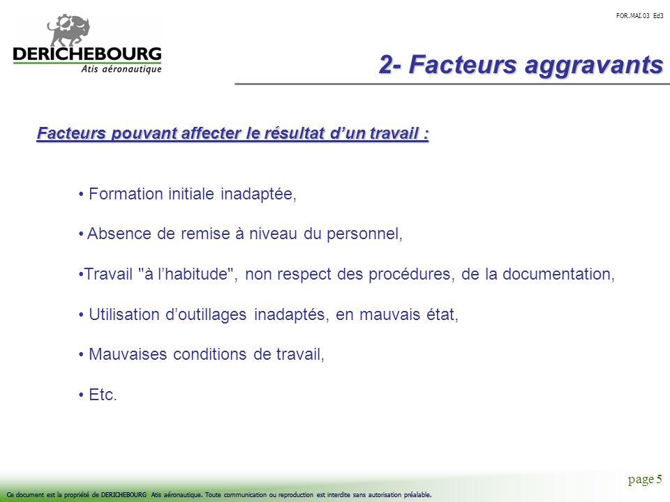 2- Facteurs aggravantsFacteurs pouvant affecter le résultat d'un travail : Formation initiale inadaptée,