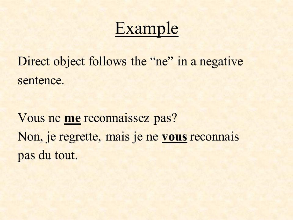 ExampleDirect object follows the ne in a negative sentence.