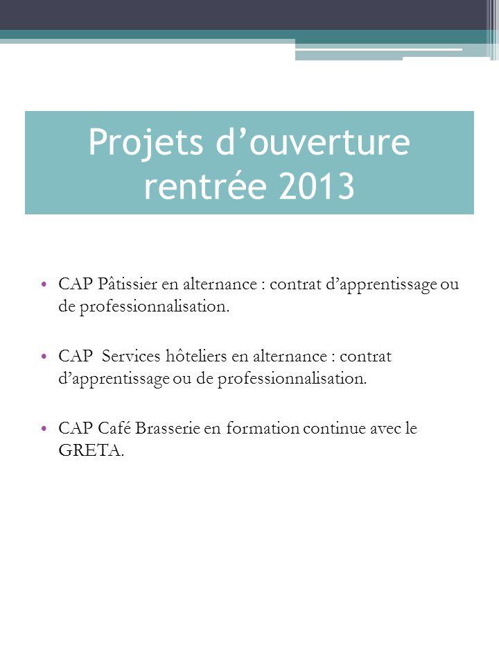 Projets d'ouverture rentrée 2013