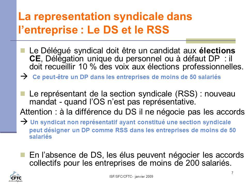 La representation syndicale dans l'entreprise : Le DS et le RSS