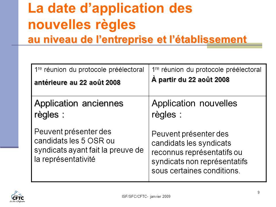La date d'application des nouvelles règles au niveau de l'entreprise et l'établissement