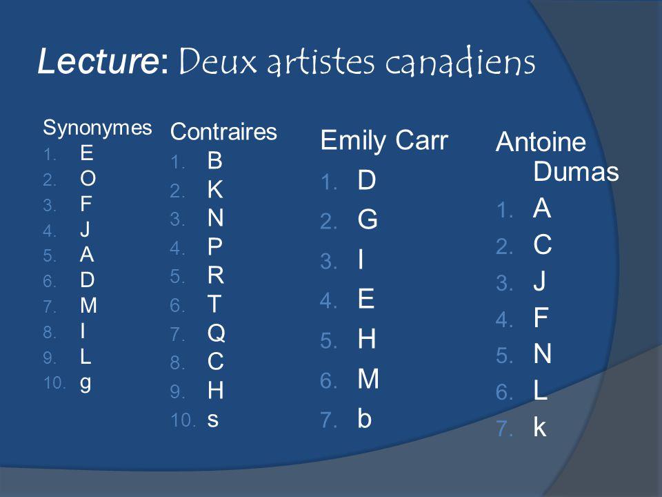 Lecture: Deux artistes canadiens