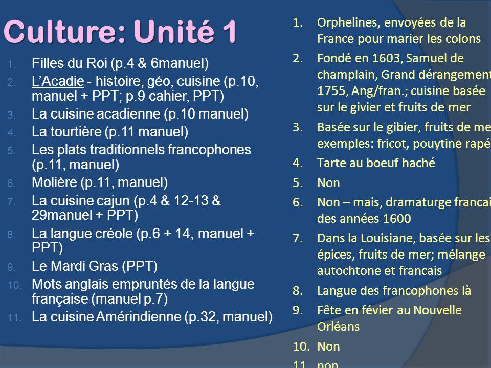 Culture: Unité 1 Orphelines, envoyées de la France pour marier les colons.
