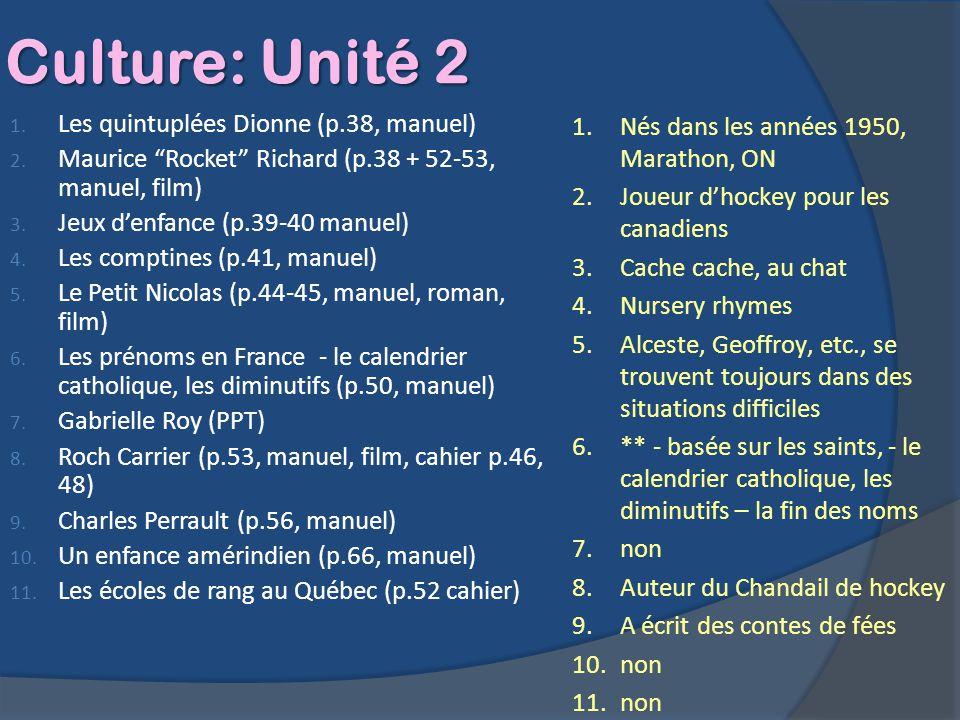 Culture: Unité 2 Les quintuplées Dionne (p.38, manuel)