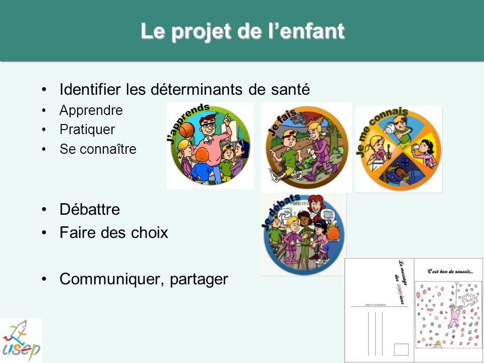 Le projet de l'enfant Identifier les déterminants de santé Débattre