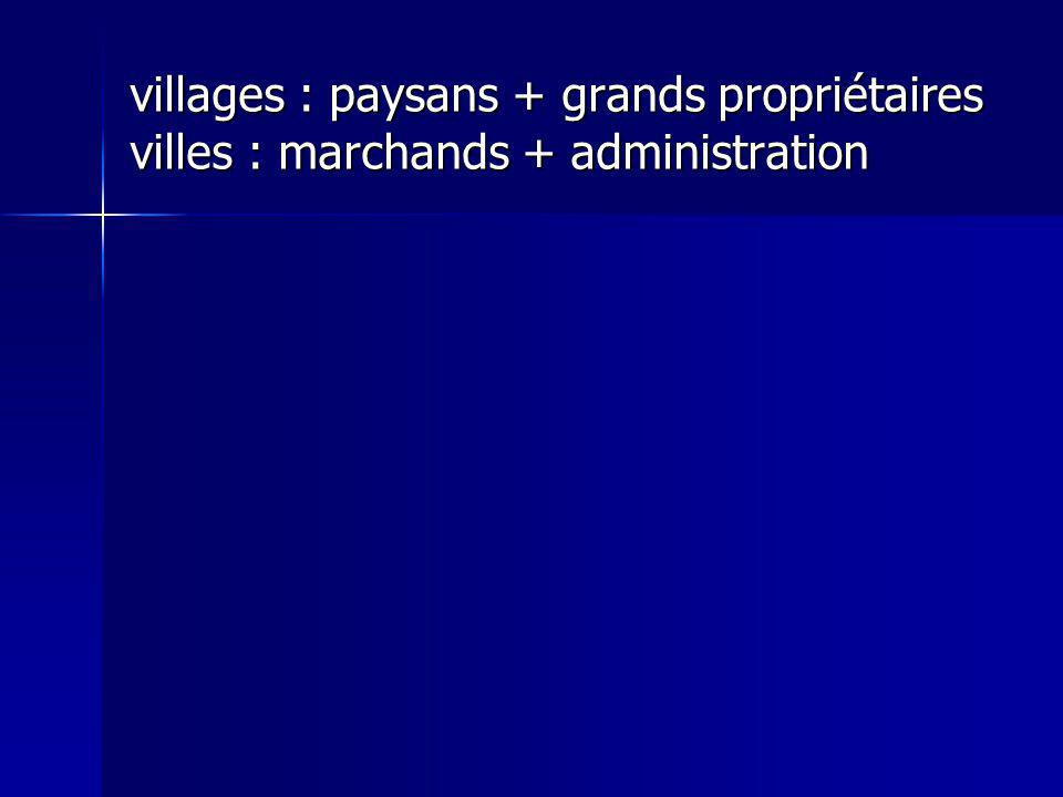 villages : paysans + grands propriétaires villes : marchands + administration