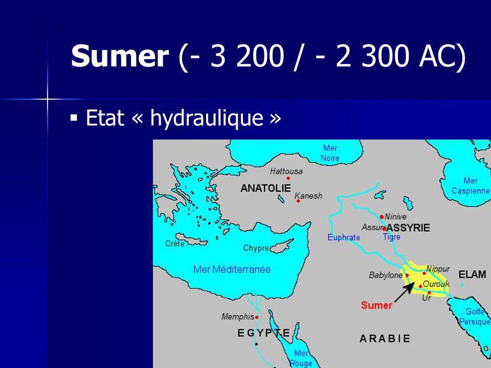 Sumer (- 3 200 / - 2 300 AC) Etat « hydraulique »