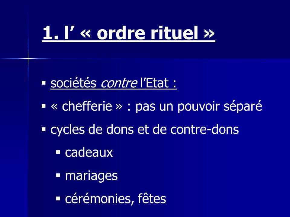 1. l' « ordre rituel » sociétés contre l'Etat :