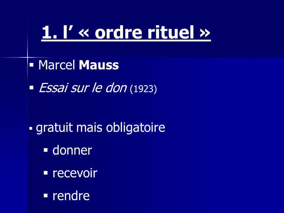 1. l' « ordre rituel » Marcel Mauss Essai sur le don (1923) donner