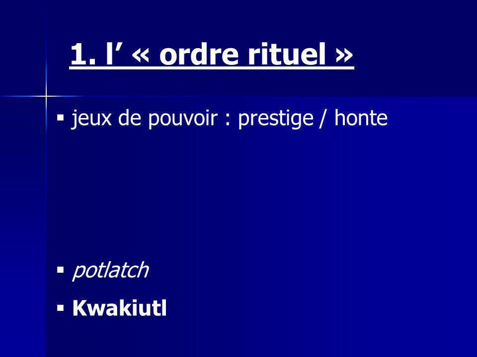 1. l' « ordre rituel » jeux de pouvoir : prestige / honte potlatch