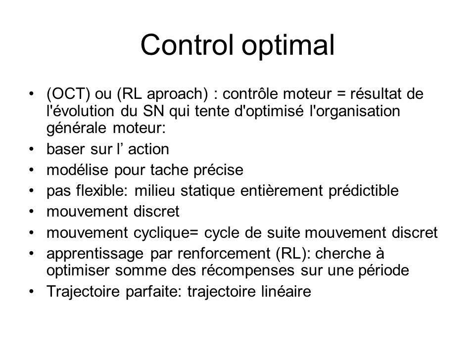 Control optimal (OCT) ou (RL aproach) : contrôle moteur = résultat de l évolution du SN qui tente d optimisé l organisation générale moteur: