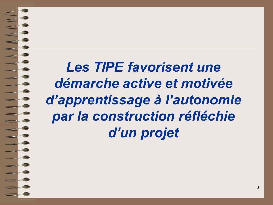 Les TIPE favorisent une démarche active et motivée d'apprentissage à l'autonomie par la construction réfléchie d'un projet