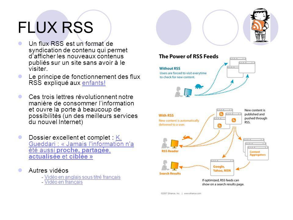 FLUX RSS Un flux RSS est un format de syndication de contenu qui permet d'afficher les nouveaux contenus publiés sur un site sans avoir à le visiter.