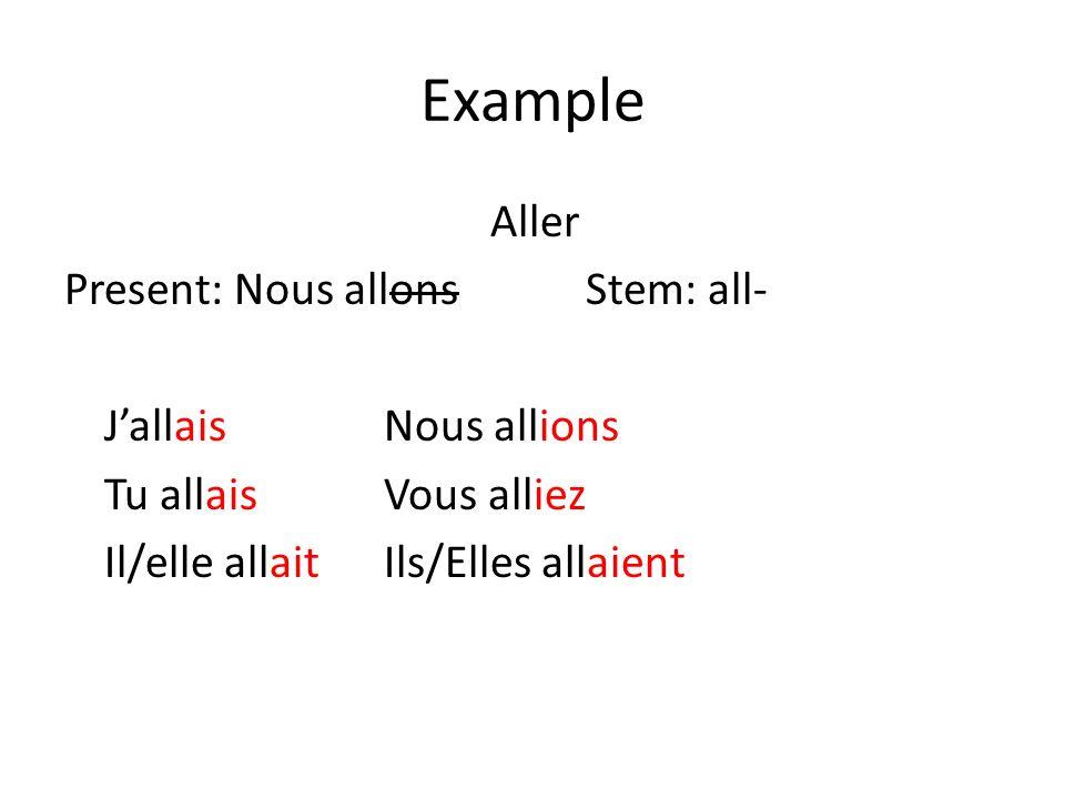 Example Aller Present: Nous allons Stem: all- J'allais Nous allions Tu allais Vous alliez Il/elle allait Ils/Elles allaient