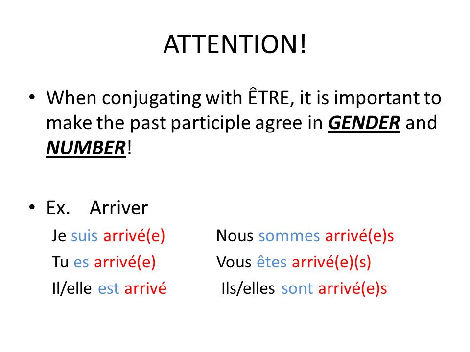 ATTENTION!When conjugating with ÊTRE, it is important to make the past participle agree in GENDER and NUMBER!