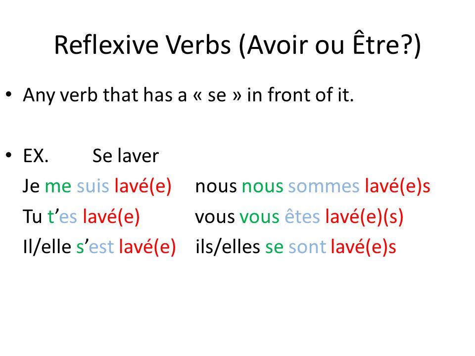 Reflexive Verbs (Avoir ou Être )