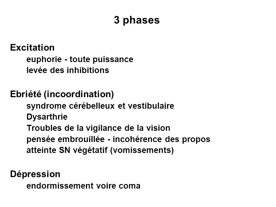 3 phases Excitation Ebriété (incoordination) Dépression