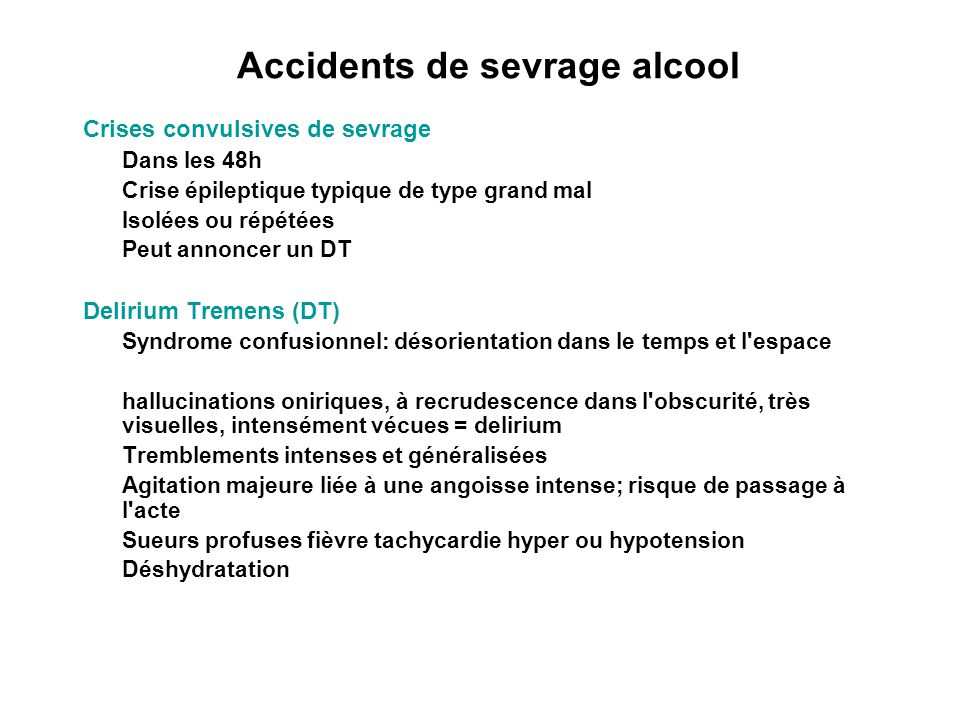 Accidents de sevrage alcool