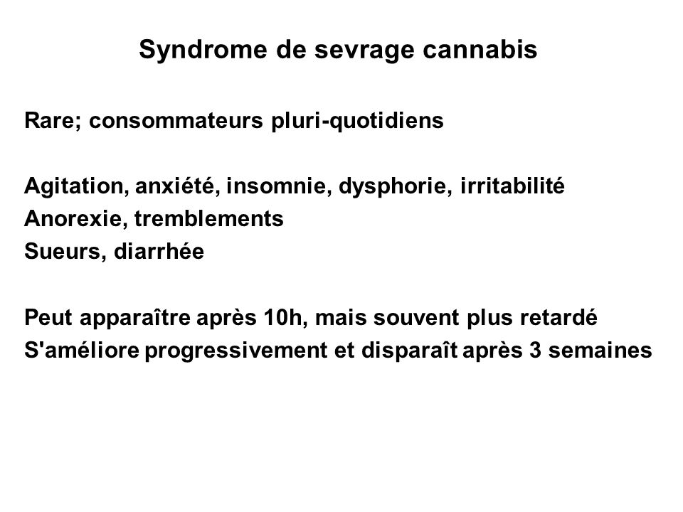 Syndrome de sevrage cannabis