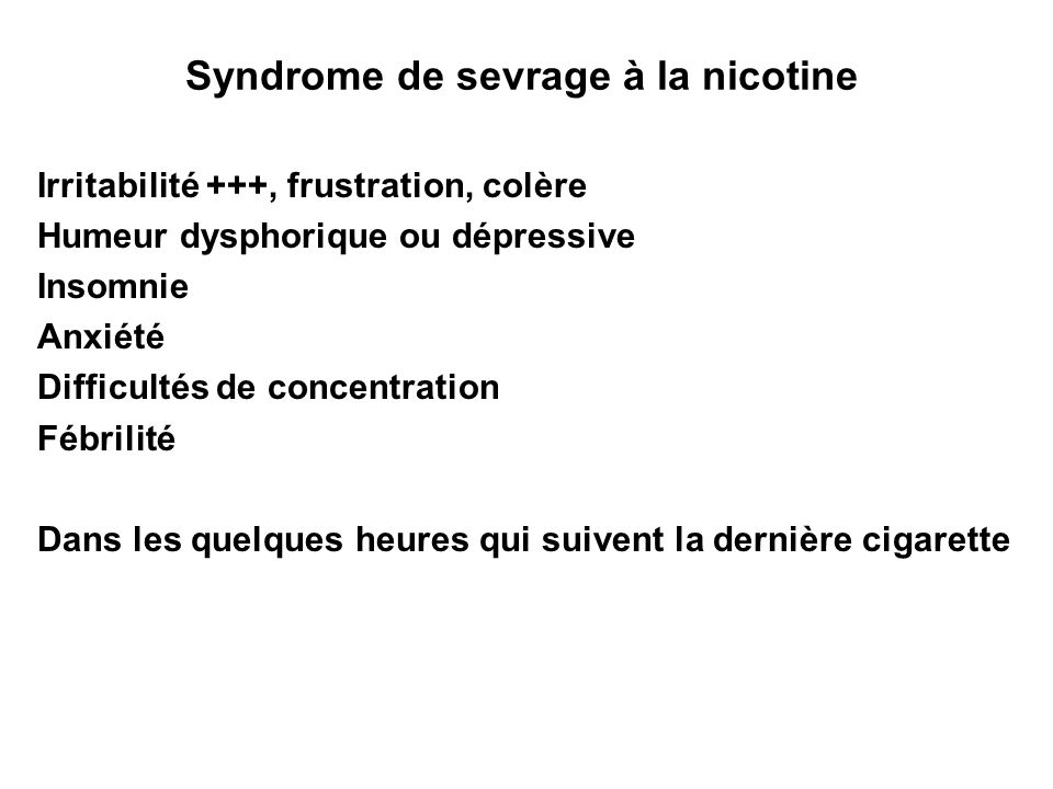 Syndrome de sevrage à la nicotine