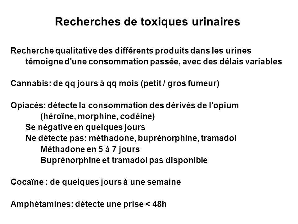 Recherches de toxiques urinaires