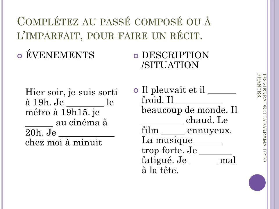 Pass compos vs imparfait ppt video online t l charger for Porte imparfait