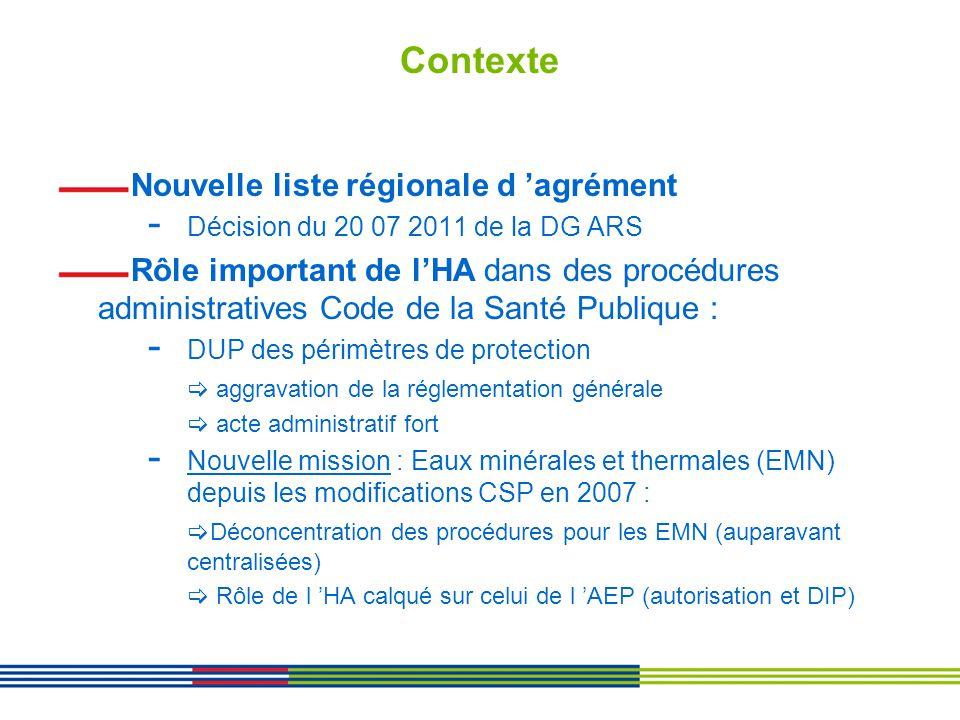 Contexte Nouvelle liste régionale d 'agrément